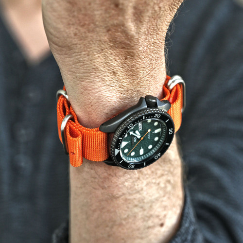 Ballistic Nylon Military Watch Strap - Orange (Matte Buckle)