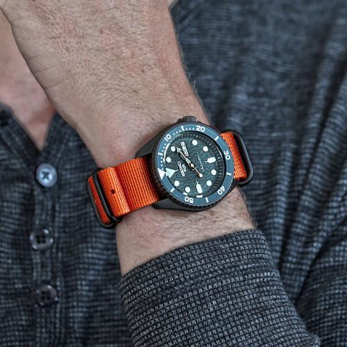 Ballistic Nylon Military Watch Strap - Orange (PVD Buckle)