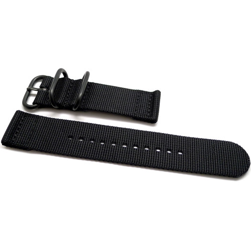 Two Piece Ballistic Nylon Watch Strap - Black (PVD)