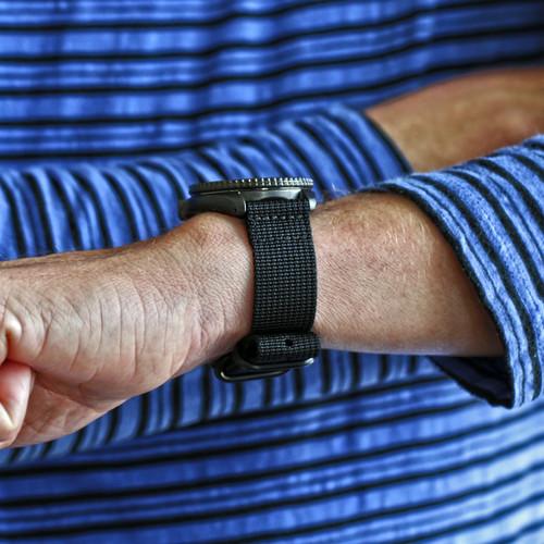 Two Piece Ballistic Nylon Watch Strap - Black (PVD)