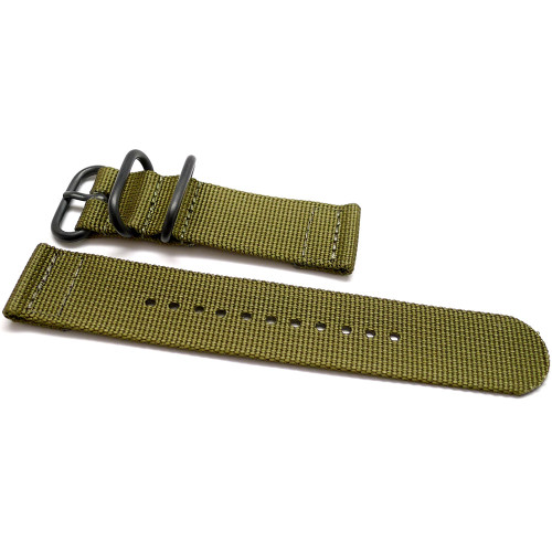 Two Piece Ballistic Nylon Watch Strap - Olive (PVD)