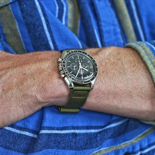 Two Piece Ballistic Nylon Watch Strap - Olive (PVD)