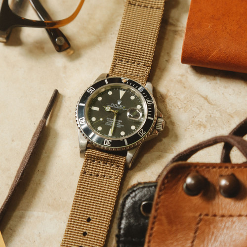 Two Piece Ballistic Nylon Watch Strap - Sand (PVD)