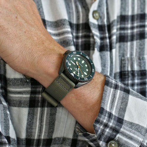 Two Piece Ballistic Nylon Watch Strap - Grey (PVD)