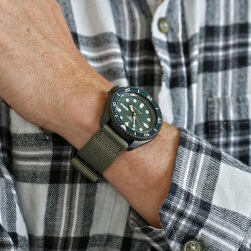 Two Piece Ballistic Nylon Watch Strap - Grey (PVD)