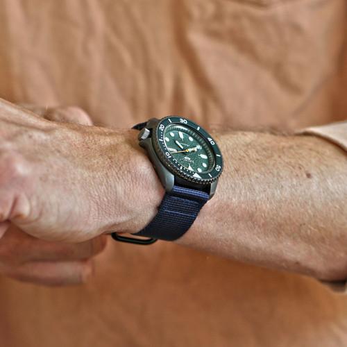 Two Piece Ballistic Nylon Watch Strap - Navy (PVD)