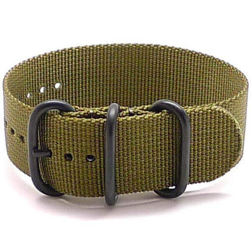 Ballistic Nylon Military 1 Piece Watch Strap - Olive (PVD Buckle)