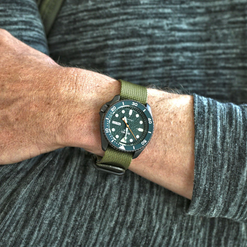 Ballistic Nylon Military 1 Piece Watch Strap - Olive (PVD Buckle)