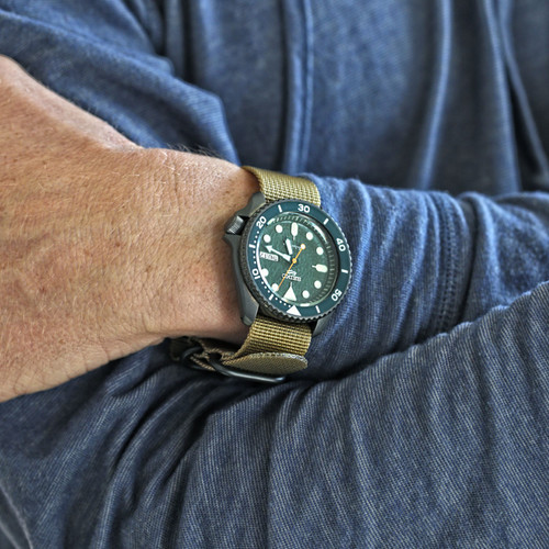 Ballistic Nylon Military 1 Piece Watch Strap - Sand (PVD Buckle)