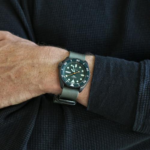 Ballistic Nylon Military 1 Piece Watch Strap - Grey (PVD Buckle)