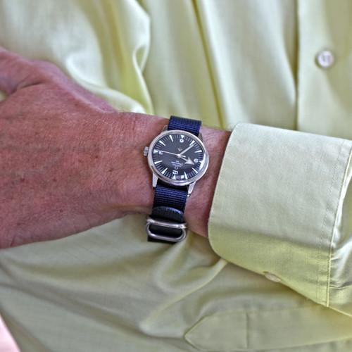 Ballistic Nylon Military 1 Piece Watch Strap - Navy (Matte Buckle)