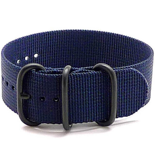 Ballistic Nylon Military 1 Piece Watch Strap - Navy (PVD Buckle)