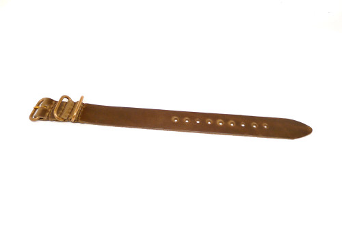 1 Piece Military Leather Watch Strap - Natural Chromexcel (Bronze Buckle)