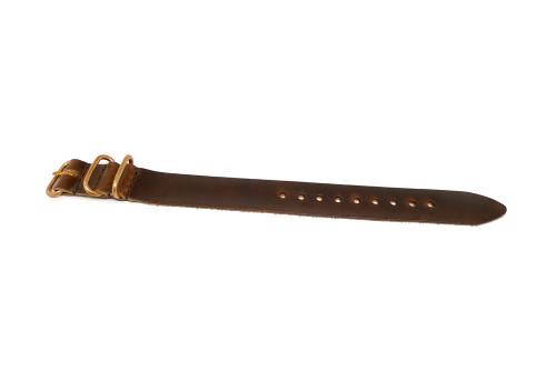 1 Piece Military Leather Watch Strap - Brown Chromexcel (Bronze Buckle)