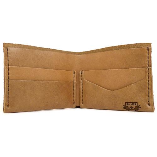 DA LUCA Handmade Bi Fold Wallet - Natural Chromexcel open