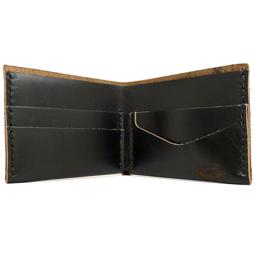 DA LUCA Handmade Bi Fold Wallet - Black Chromexcel open