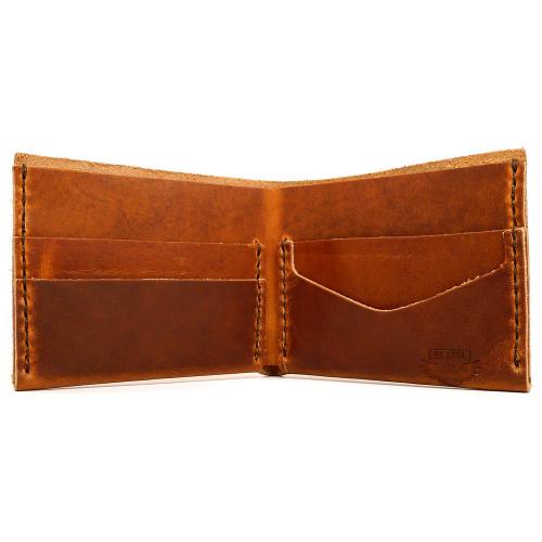 DA LUCA Handmade Bi Fold Wallet - Natural Dublin open