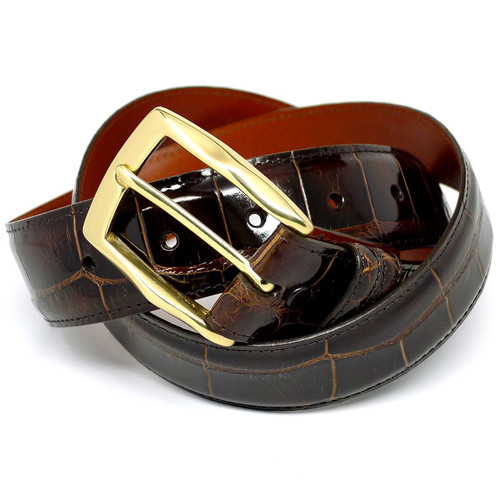 Handmade Brown Glazed Alligator Belt