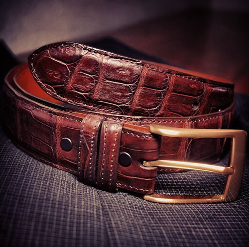 Handmade Brown Matte Crocodile Belt with a gold buckle