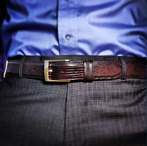 Handmade Brown Glazed Lizard Belt