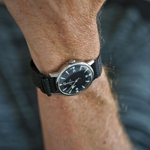 Braided Nylon Perlon Watch Strap - Black (Polished Buckle)