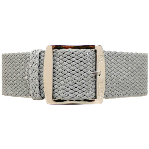 Braided Nylon Perlon Watch Strap - Grey (Polished Buckle)