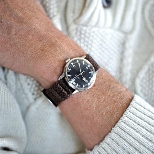 Braided Nylon Perlon Watch Strap - Brown (Polished Buckle)