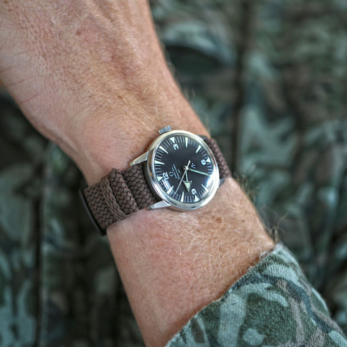 Braided Nylon Perlon Watch Strap - Brown (PVD Buckle)
