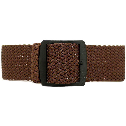 Braided Nylon Perlon Watch Strap - Brown (PVD Buckle)