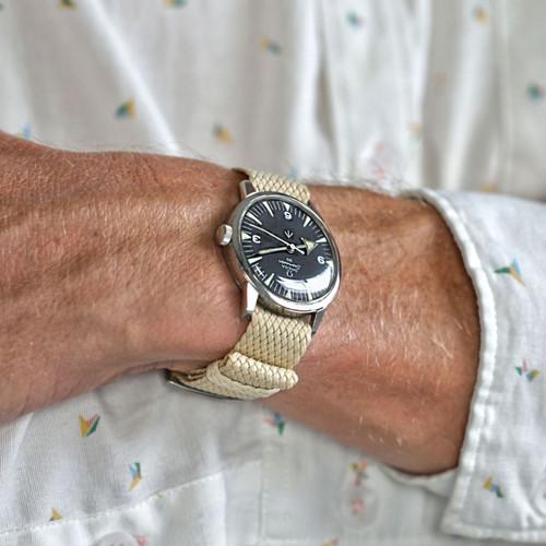 Braided Nylon Perlon Watch Strap - Sand (Polished Buckle)