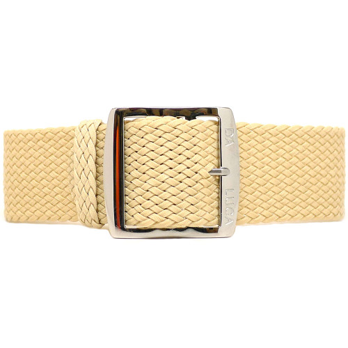 Braided Nylon Perlon Watch Strap - Sand (Polished Buckle)