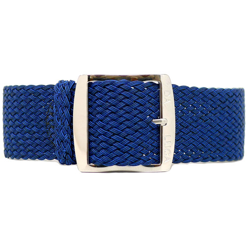 Braided Nylon Perlon Watch Strap - Navy (Polished Buckle)