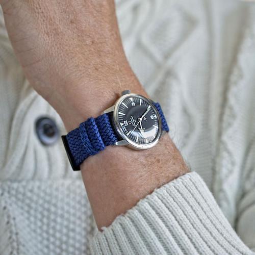 Braided Nylon Perlon Watch Strap - Navy (PVD Buckle)