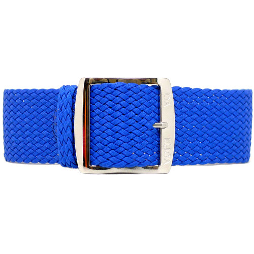 Braided Nylon Perlon Watch Strap - Blue (Polished Buckle)