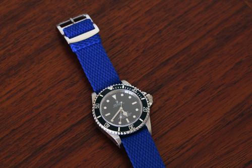 Braided Nylon Perlon Watch Strap - Blue (Polished Buckle)