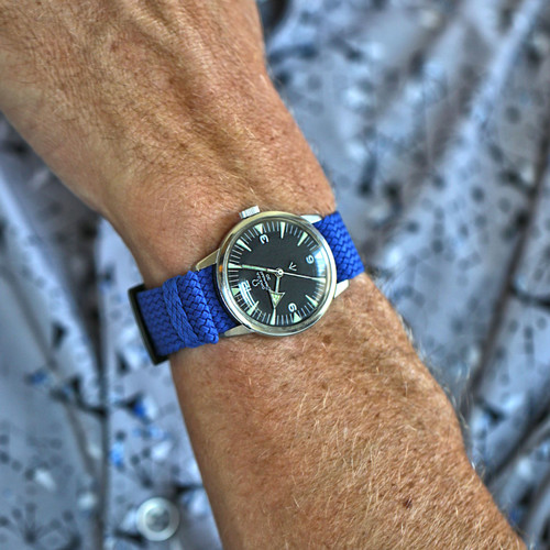 Braided Nylon Perlon Watch Strap - Blue (PVD Buckle)