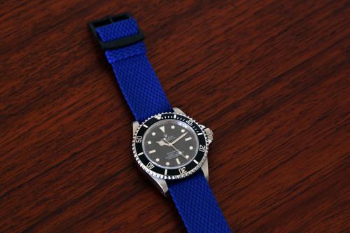 Braided Nylon Perlon Watch Strap - Blue (PVD Buckle)