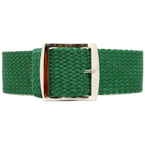 Braided Nylon Perlon Watch Strap - Green (Polished Buckle)