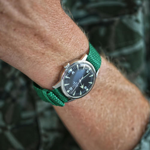 Braided Nylon Perlon Watch Strap - Green (PVD Buckle)