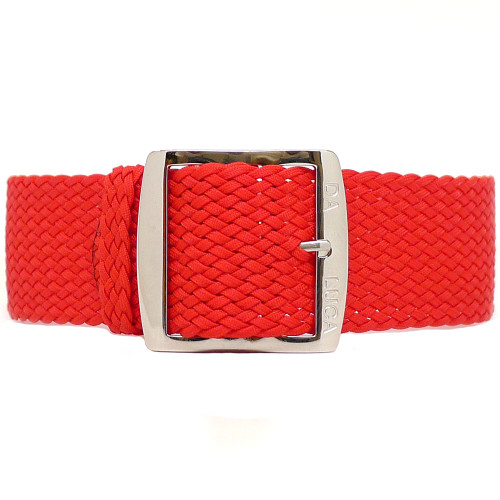 Braided Nylon Perlon Watch Strap - Red (Polished Buckle)