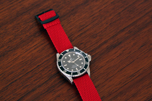 Braided Nylon Perlon Watch Strap - Red (PVD Buckle)