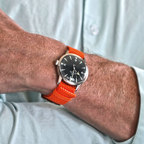 Braided Nylon Perlon Watch Strap - Orange (Polished Buckle)