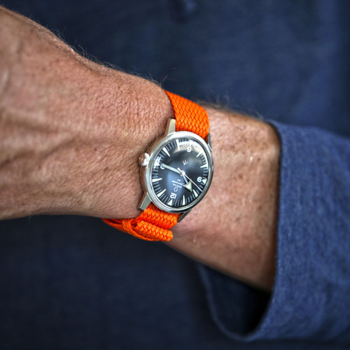 Braided Nylon Perlon Watch Strap - Orange (PVD Buckle)