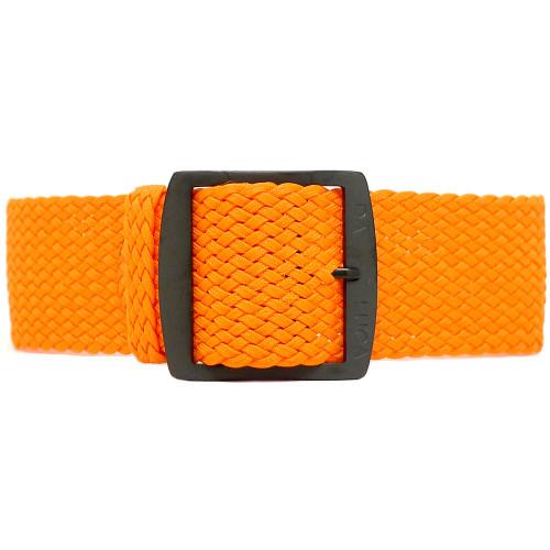 Braided Nylon Perlon Watch Strap - Orange (PVD Buckle)