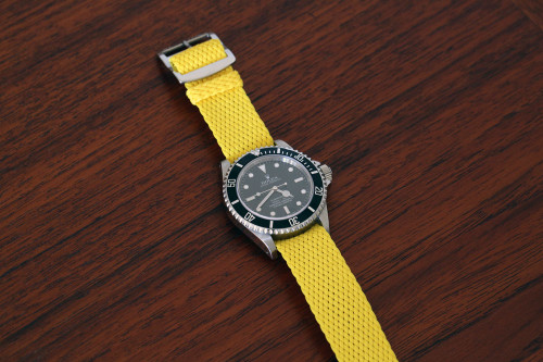Braided Nylon Perlon Watch Strap - Yellow (Polished Buckle)