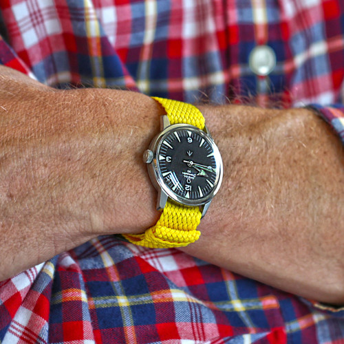 Braided Nylon Perlon Watch Strap - Yellow (PVD Buckle)