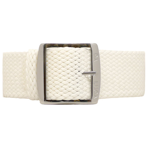 Braided Nylon Perlon Watch Strap - White (Polished Buckle)