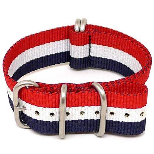 Ballistic Nylon Military Watch Strap - Red-White-Blue (Matte Buckle)