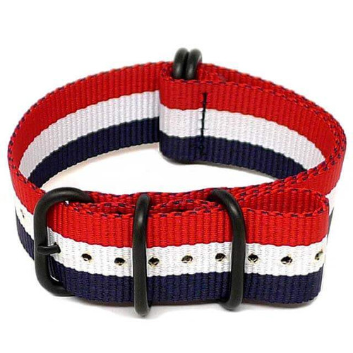 Ballistic Nylon Military Watch Strap - Red-White-Blue (PVD Buckle)