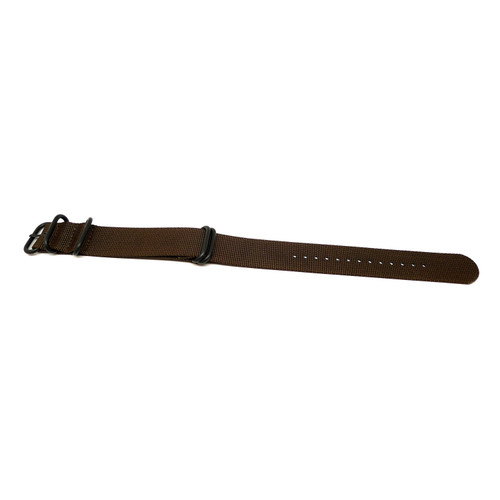 Ballistic Nylon Military Watch Strap - Brown (PVD Buckle)